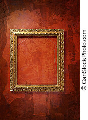 old frame on the red wall