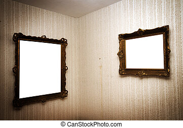Old frames on retro wall