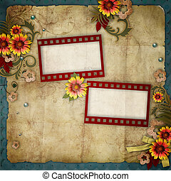 old frames on vintage background