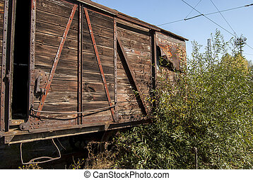 Old freight abandoned railway wagon