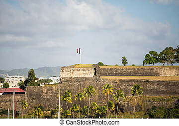 Old fort on a hill overlooking the harbor in Martinique