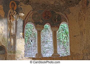 Old fresco on the wall of St Nicholas church, Demre