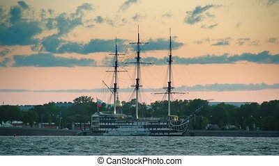 Old frigate near the waterfront in center of St.Petersburg,...
