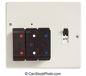 Old Fuse Box - Old Fuse box with cover removed isolated on ...