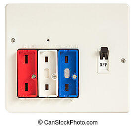Old Fuse Box - Old Fuse box with fuses removed isolated on ...