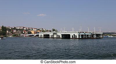 Old Galata Bridge in Golden Horn, Istanbul