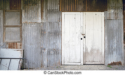Old galvanized steel wall