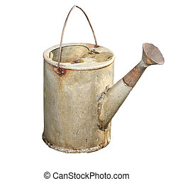 Old galvanized watering can isolated on white background.
