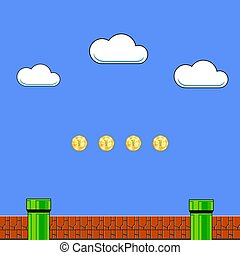 Old Game Background. Classic Retro Arcade Design with Pipe and Brick