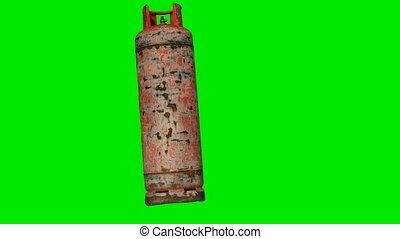 Old gas balloon on green chromakey background