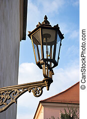 Old gas lantern on the wall