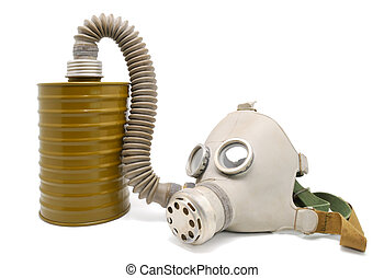 Old gas mask. - Old Soviet gas mask on a white background.
