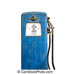 Old gas pump isolated on white background