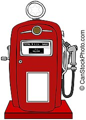 Old gas pump - This illustration depicts a red gasoline pump...