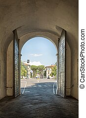 Old gate - exit from the historic center of Lucca