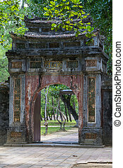 Old gate in Imperial Minh Mang Tomb in  Hue