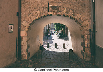Old gate in the old city of Riga