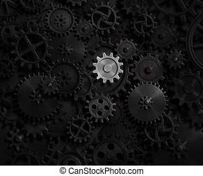 Old gears and cogs with bright one 3d illustration