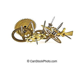 Old gears of the clock isolated on white background