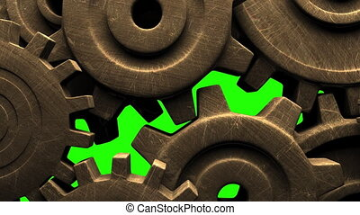 Old gears on green chroma key. 3DCG render animation.