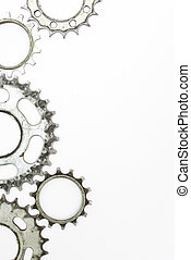 Old gears on the white background
