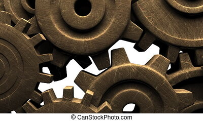 Old gears on white background