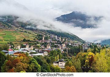 Old Georgian town of Mestia. Tourist attraction - Georgia...