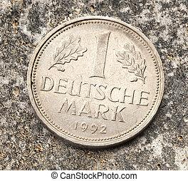Old german coin of one deutsche mark