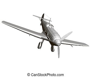 Old German military aircraft. Polygonal airplane isolated on a white background. 3D. Vector illustration