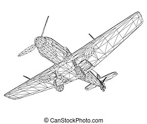 Old German military aircraft. Wireframe airplane isolated on a white background. 3D. Vector illustration