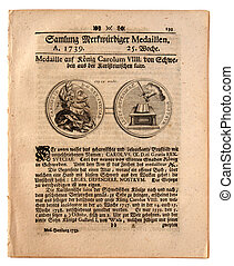 Original front page of the German newspaper published in Nuremberg dated 1739