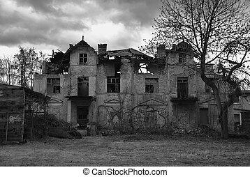 Old ghostlike house.