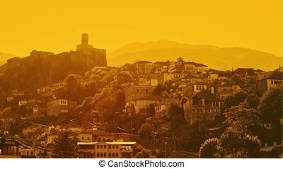 Old Gjirokaster stone town built in Ottoman Turkish period in Albania, UNESCO World Heritage Site.