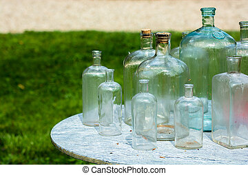 Old Glass Bottles On Table