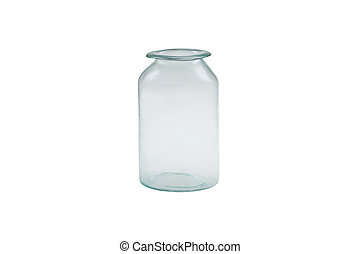 Old glass jar isolated.