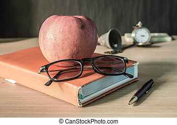 glasses and fruits on a stationary