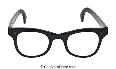 Old glasses isolated on white background