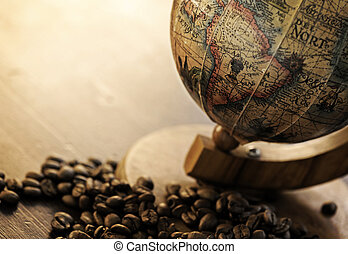 old globe with coffee beans