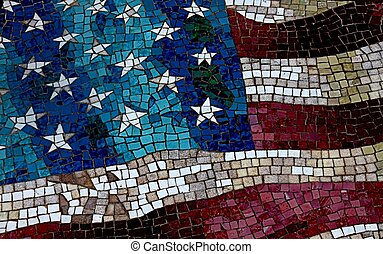 Old Glory - A sidewalk mosaic paying homage to the flag.