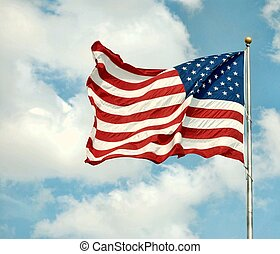 Old GLory - American flag flapping in the wind