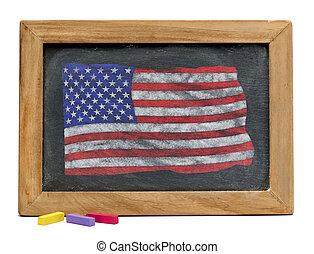 Old Glory. -  American old glory on chalk board.