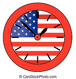 Old Glory Clock - A typical clock face without numbers and a...
