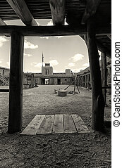Old Glory - Courtyard Detail - Old Bent Fort, Colorado