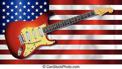 Old Glory Flag With Electric Guitar