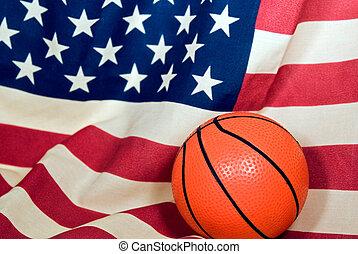 Old Glory Game - Basketball on American flag.