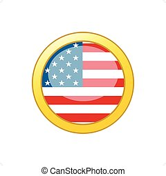 Old Glory Icon - Button with American flag inside gold...