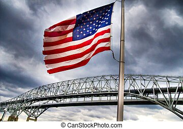 Old Glory - Old glory stands guard over an international...