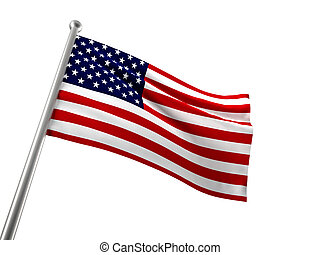 old glory - usa flag isolated on white
