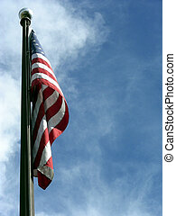 Old Glory - United States flag flying high in the sky