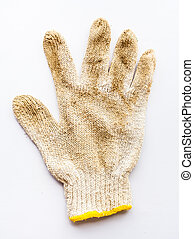 Old gloves  on white background